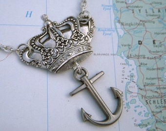 The Crown & Anchor Necklace British Pub Inspired Silver Crown Nautical Anchor Handcrafted Art Jewelry Royal Crown