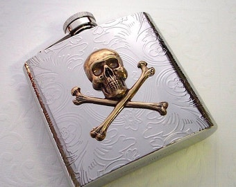 Steampunk Flask Brass Skull & Crossbones Stainless Steel Metal 6 oz Skull Flask Gothic Victorian Pirate Steampunk