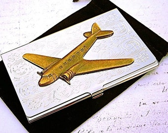 Airplane Business Card Case Brass Plane Vintage Inspired Silver Plated Card Holder Accessories Gifts Men