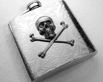 Skull Flask Steampunk Flask Silver Skull & Crossbones Vintage Inspired Gothic Victorian Pirate Flask Steampunk Accessories