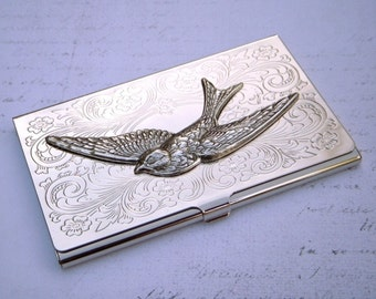 Flying Bird Business Card Case Silver Card Case Silver Bird Case Silver Wings Woman's Card Case Victorian Card Case Fancy Card Case Slim