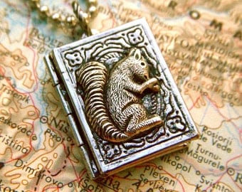 Squirrel Locket Necklace Mixed Metals Antiqued Finish
