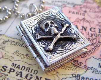 Skull Locket Necklace Pirate Skull & Crossbones Tiny Book Locket Silver Plated Vintage Inspired Rustic Primitive Antiqued Finish