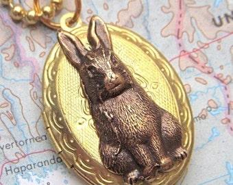 Rabbit Locket Vintage Locket Necklace Rabbit Necklace SUPER SALE Small Oval Locket Rustic Brass Bunny Rabbit Antiqued Brass Ball Chain