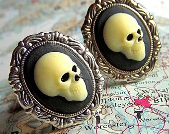 Gothic Skull Cufflinks Silver Plated Cameo Oval Frames - Victorian Noir Steampunk Cuff Links