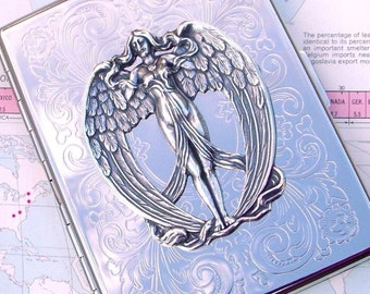 Silver Cigarette Case Art Nouveau Silver Angel Wings Gothic Victorian Angel Winged Woman Vintage Inspired Steampunk Cigarette Case