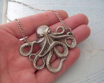Big Octopus Necklace Silver Large Gothic Victorian Rustic Primitive Antiqued Finish Nautical Steampunk Jules Verne Vintage Inspired