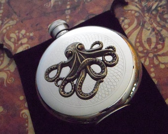 Octopus Flask Steampunk Round Vintage Inspired Nautical Victorian Drinking Accessories Silver & Brass