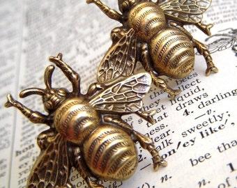Men's Cufflinks Large Brass Bee Cufflinks Big Size Steampunk Cufflinks Antiqued Brass Cufflinks Vintage Style BIG BOLD Statement Cufflinks