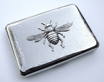Silver Bee Cigarette Case Small Size Silver Plated Metal Case Gothic Victorian Steampunk Cigarette Case Card Holder Gift's For Women New