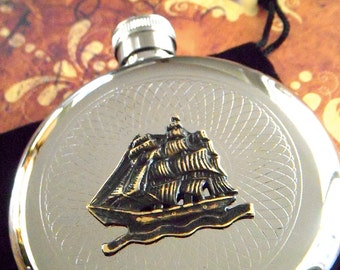 Pirate Flask Hip Flask Pirate Ship Flask Round Flask Silver Flask Metal Flask Nautical Flask Steampunk Flask Gothic Victorian Flask Prop