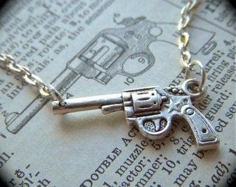Tiny Silver Gun Necklace Petite Size Double Sided Miniature Pistol Steampunk Fashion Jewelry
