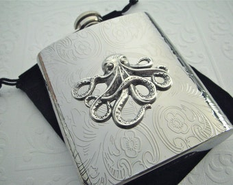 Silver Octopus Flask Silver Flask Metal 8 Ounce Nautical Flask Steampunk Flask Vintage Style Big Flask Pirate Flask Silver Flask