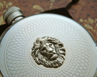 Silver Lion Flask Vintage Inspired Gothic Victorian Steampunk Flask Stainless Steel Flask Round Flask