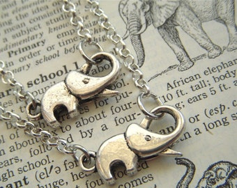 Set of 2 Baby Elephant Bracelets Friendship Bracelets Antiqued Silver Tone Silvertone Rolo Chain Trunk Up For Good Luck By Cosmic Firefly