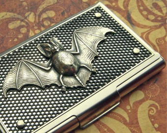 Bat Business Card Case Halloween Card Case Silver & Black Industrial Steampunk Card Case Batman Case