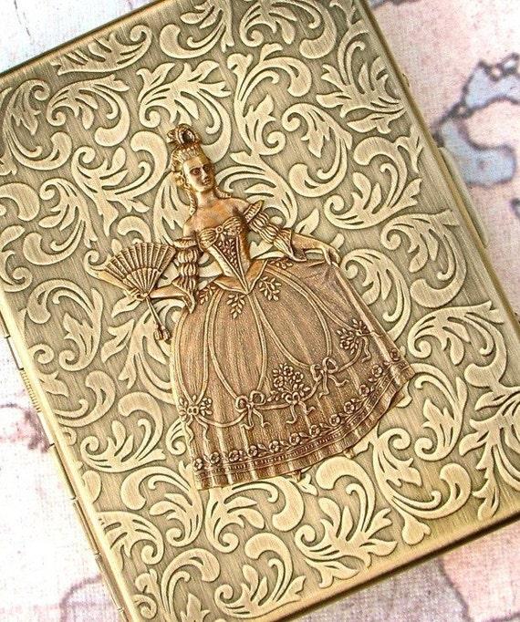 Woman's Cigarette Case Gothic Victorian Steampunk Case Marie Antoinette Antiqued Gold Brass Tone Oversized Card Case