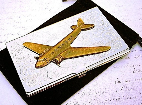Airplane business card case brass plane vintage inspired for Airplane business card holder