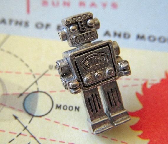 Steampunk Robot Tie Tack Silver Robot Pin By Cosmic Firefly Las Vegas