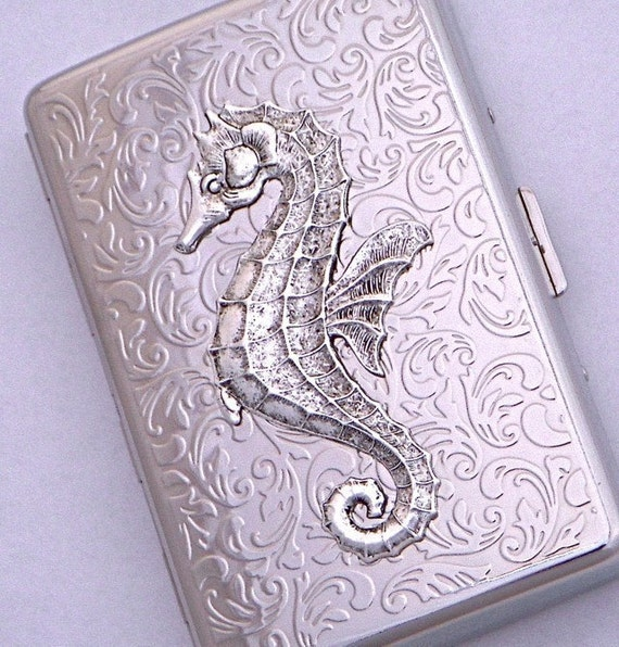 Seahorse Cigarette Case Silver Plated Gothic Victorian Nautical Steampunk Vintage Inspired Style Design From Cosmic Firefly