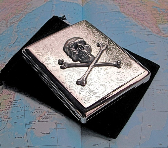 Silver Cigarette Case Skull & Crossbones Silver Plated Metal Large Size Gothic Victorian Pirate Steampunk Vintage Style