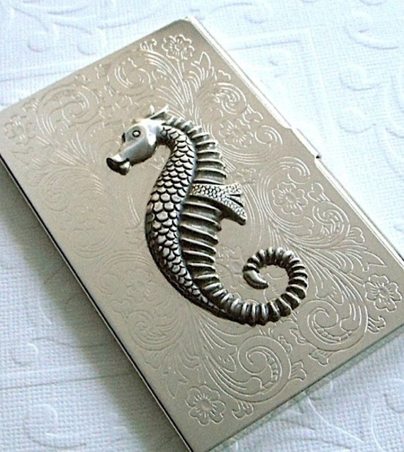 Seahorse Business Card Holder Art Deco Gothic Victorian Silver Plated Metal Vintage Inspired Slimmest