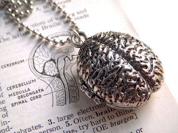 Zombie Brain Locket Necklace Jewelry Silver Plated Metal Weird Horror Gothic Victorian Anatomical Fashion Accessories From Cosmic Firefly