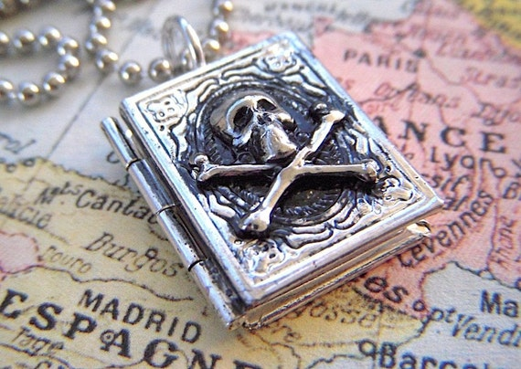 Skull Locket Necklace Pirate Skull & Crossbones Tiny Book Locket Silver Plated Vintage Inspired Rustic Primitive Antiqued Finish