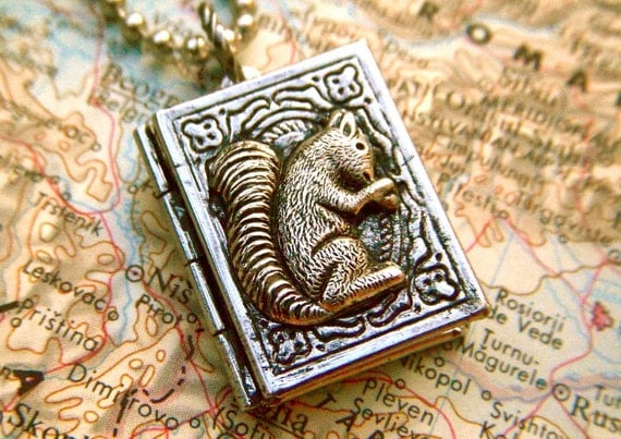 Small Squirrel Locket Necklace Antiqued Silver Book Locket Mixed Metals Rustic Finish