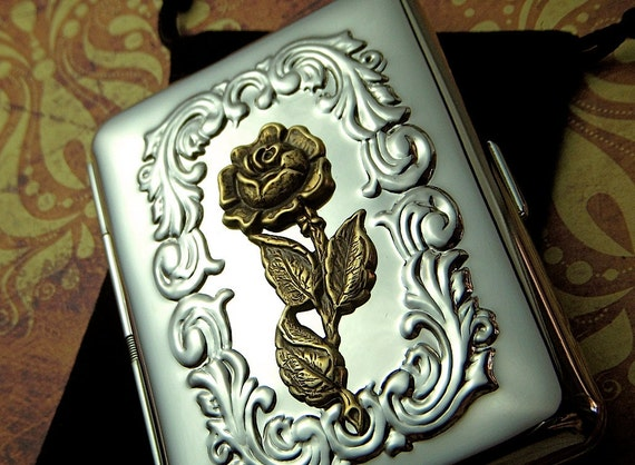 Feminine Cigarette Case Gothic Victorian Rose Case Small Size Vintage Inspired Metal Steampunk Case Gifts For Her Valentine's Day Gifts