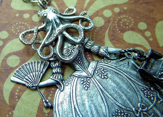 Gothic Victorian Necklace Octopus Girl With Treasure Chest Purse Nautical Steampunk Antiqued Silver Metals