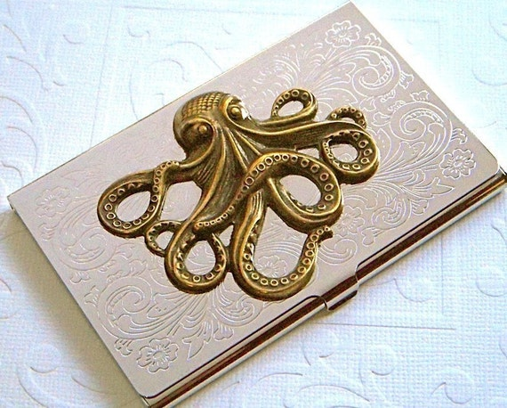 Octopus Business Card Case Gothic Victorian Nautical Steampunk Inspired Mixed Metals Slim Silver Plated & Brass Octopus Card Case