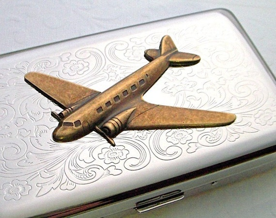 Long Cigarette Case Steampunk Propeller Airplane Vintage Inspired DC-3 Antiqued Brass Prop Plane Silver Plated Metal Holds 120's Size
