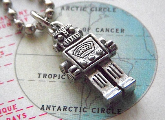 Tiny Robot Necklace Silver Tone Steampunk Jewelry