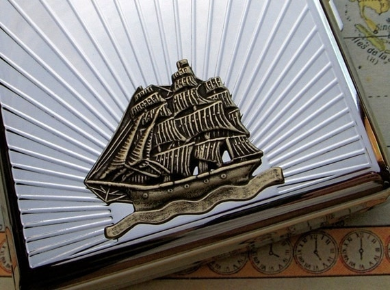 Cigarette Case Pirate Ship Vintage Reproduction Art Deco Silver Plated Metal Wallet Nautical Steampunk Men's Accessories & Gifts