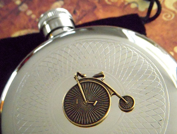 Steampunk Flask Round Penny Farthing Gothic Victorian Vintage Style Bicycle Stainless Steel Silver & Brass Men's Accessories Gifts