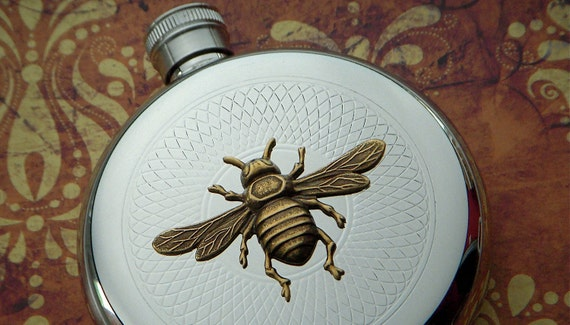 Round Bee Flask Vintage Inspired Gothic Victorian Steampunk Style Silver & Brass Metals