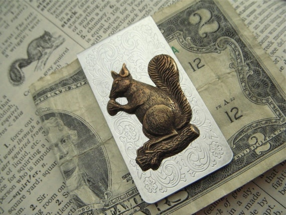 Squirrel Money Clip Men's Accessories Silver Plated & Brass Mixed Metals Vintage Inspired Victorian Steampunk Style