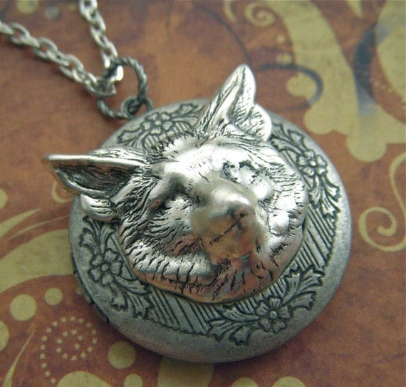 Fox Locket Necklace Rustic Fox Necklace Gothic Victorian Style Vintage Inspired Jewelry Antiqued Silver Finish