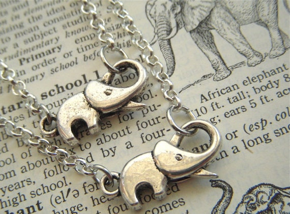 Silver Elephant Necklaces Set of 2 Antiqued Silver Tone Baby Elephant Rolo Chain Fashion Jewelry Trunk Up for Good Luck By Cosmic Firefly