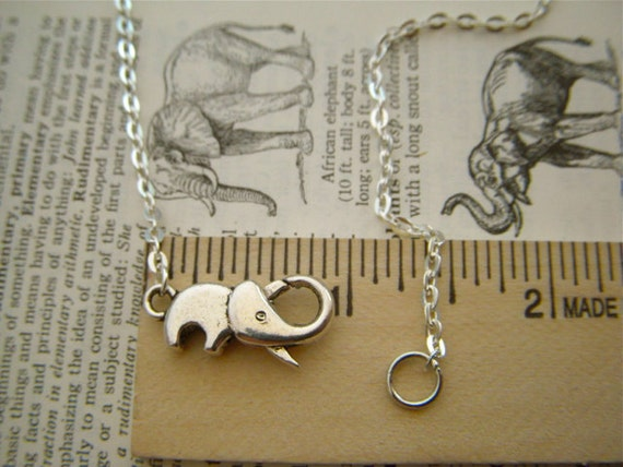 Tiny Silver Elephant Necklace Silver Tone Metal Fashion Jewelry Clasp Trunk Up For Good Luck Costume Jewelry