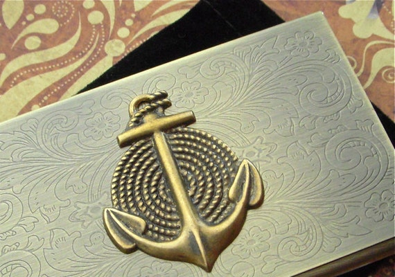 Steampunk Card Case Nautical Anchor Vintage Inspired Antiqued Bronze Brass Metal Business Card Case
