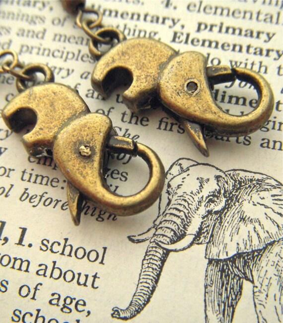 Steampunk Elephant Earrings Pierced Ear Hook Dangle Earrings Antiqued Bronze Rustic Brass Clasps Fashion Jewelry Cosmic Firefly Las Vegas