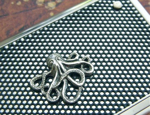 Octopus Business Card Case Baby Octopus Silver Octopus Case Steampunk Card Case Industrial Design Card Case Fancy Card Case Cosmic Firefly