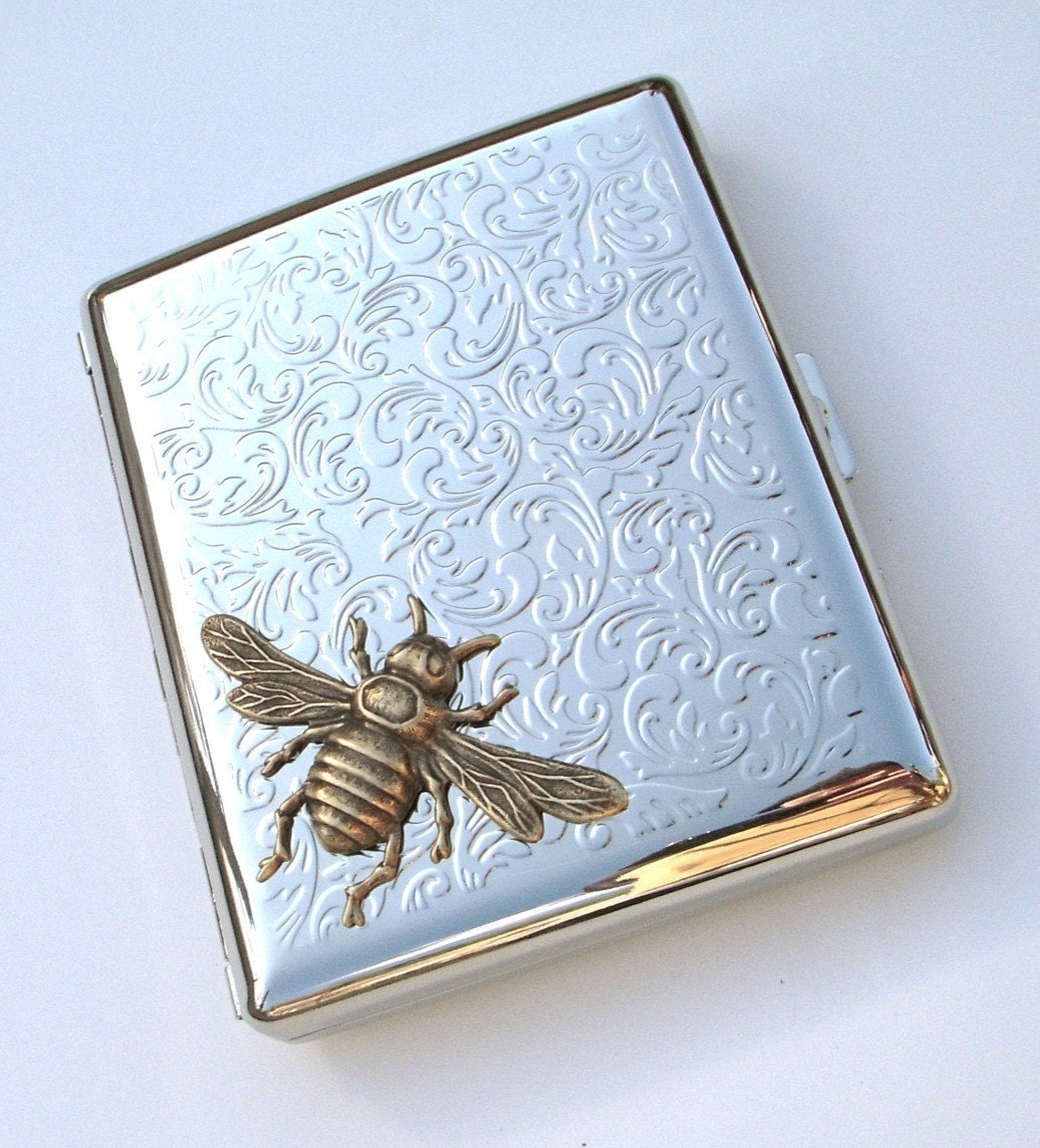 bee cigarette case vintage reproduction gothic victorian. Black Bedroom Furniture Sets. Home Design Ideas