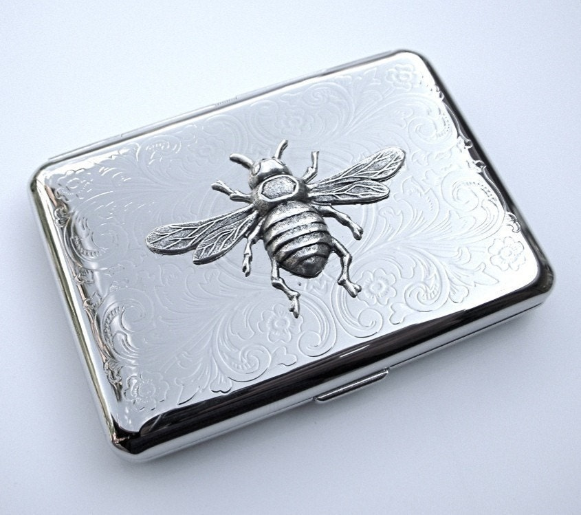 Silver Bee Cigarette Case Small Size Silver Plated Metal Case