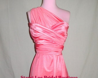 Sweet Pink Bridesmaids Wrap/Twist Dress...67 Colors... Tea Party, Bridal Shower, Wedding, Date Night, Holiday