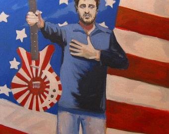 "Red White & Blue Painting of Musician Trevor MacDonald . ""Trevor MacDonald"" 30x30 in."
