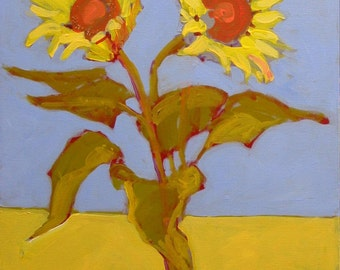 """Original Sunflower Painting . """"Two Sunflowers"""" 20x16 in."""