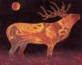 Elk Etching - 11 x 14 Art Print - Oil Pastel Etching
